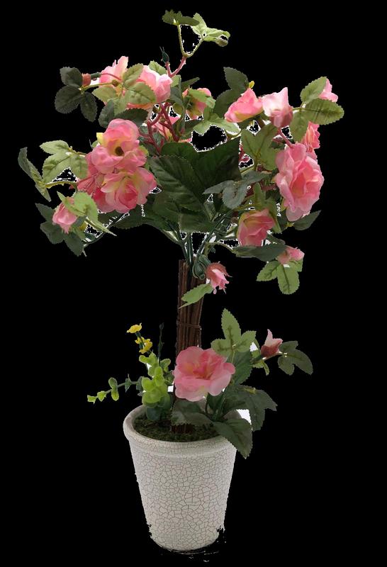 עציץ עץ ורד מלאכותי